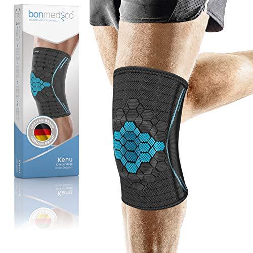 bonmedico Kenu Kniebandage für Damen & Herren, Sportbandage mit Silikon-Patellaring, stabilisiert bei Knie Schmerzen, rutschfest & atmungsaktiv für links & rechts XL, inkl. E-book