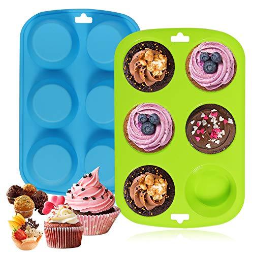 Silikon-Backform, antihaftbeschichtet, für 6 Muffins, groß, Silikonform, Backform, Backform, Brötchen, blau-grün, 2 Stück