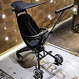 N\C High Landscape Stroller, Baby Artifact Stroller, Foldable Four-Wheel Stroller, Can Sit Down and Lie Down, High Landscape Two-Wheel Stroller, Suitable for Children Aged 1-5