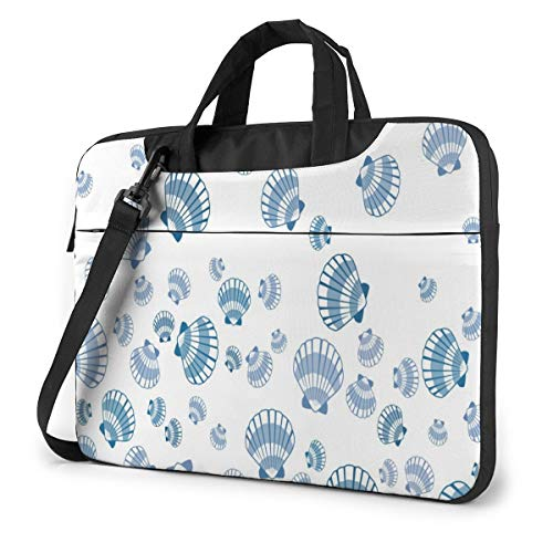 Chic Shabby Seashell Pattern Laptop Carrying Case Shoulder Bag Briefcase W/Strap Women Men 15.6'