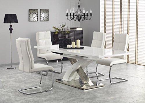 Sandor 2 160-220cm White Glass & White High Gloss Modern Extendable Dining Table