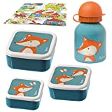 Sigikid Snackboxen und Trinkflasche 250ml Fuchs Brotdose Krippe Kiga Geschenkset 4-teilig Wasserflasche federleicht