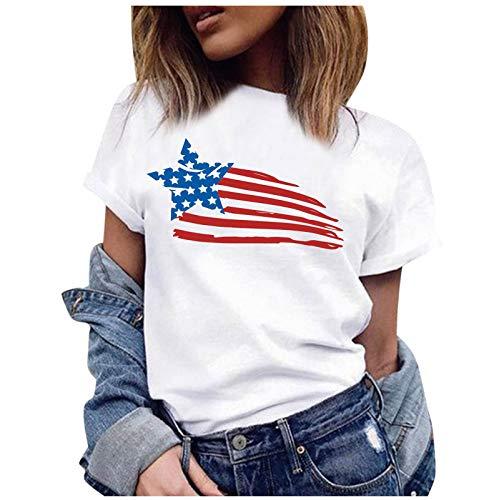Camiseta de manga corta para mujer con diseño de estrellas, diseño de mariposa, piña, labios, color blanco