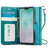 JundD Kompatibel für LG G8 ThinQ/LG G8 Hülle, [Handytasche mit Standfuß] [Slim Fit] Robust Stoßfest Aufklappbar Tasche Hülle für LG G8 ThinQ, LG G8 - [Nicht kompatibel mit LG G8S ThinQ] - Türkis