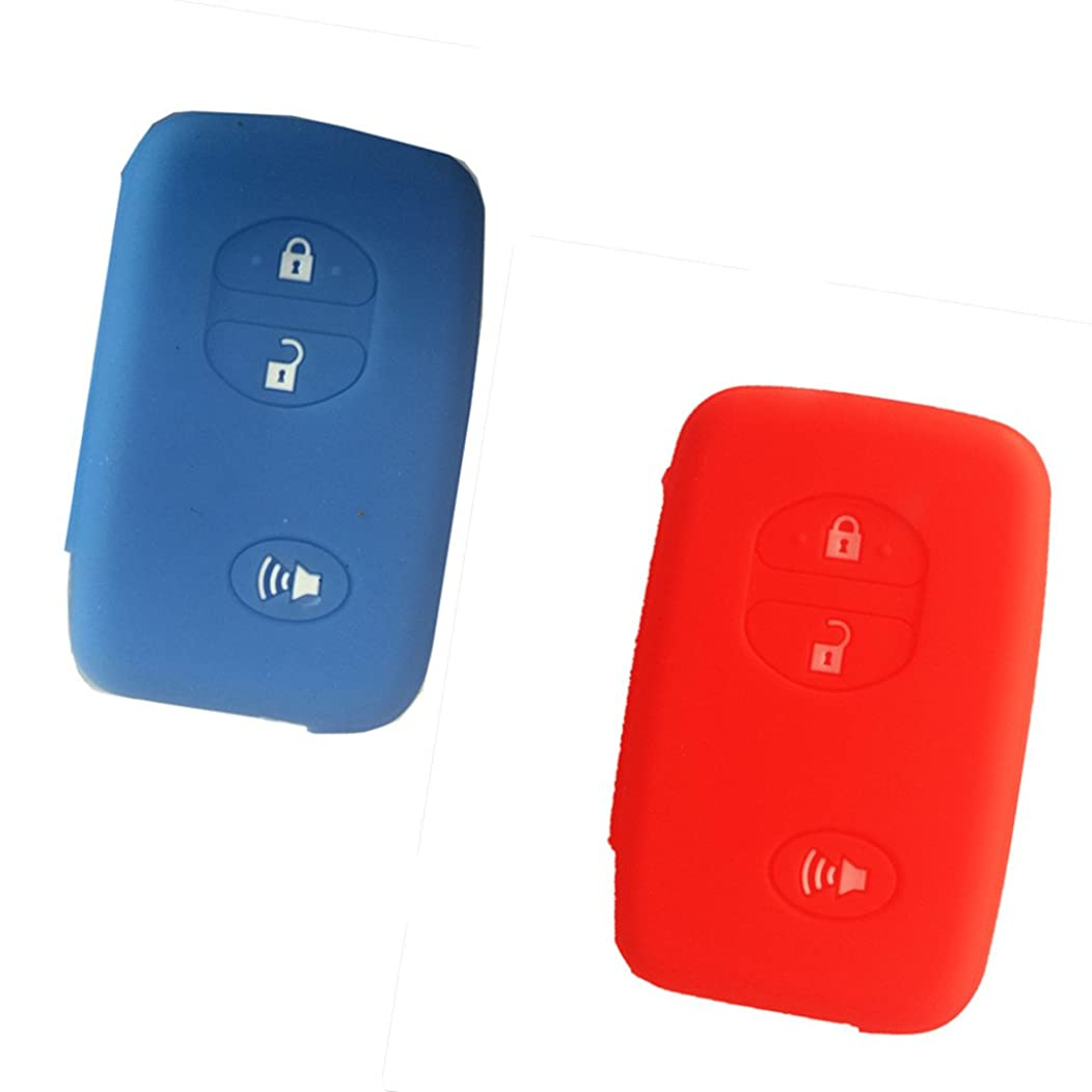 2Pcs New 3 Buttons Light Blue and Red Silicone Remote Smart Key Case Cover Fob Holder Skin Protect for Toyota Camry Corolla 4runner Venza Avalon Land Cruiser Prado RAV4 Highlander HYQ12BBY HYQ14AEM