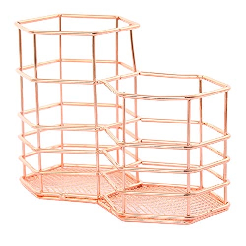 Cupcinu Penholder Pencil Case Double Hexagonal Rose Gold Storage Basket Iron Art Storage Basket Cosmetics Sundry Goods Basket for Office Supplies Friends Gifts Size 14cm8cm11cm (Rose Gold)