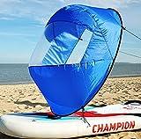 Idefair Vela sottovento,Kayak Vela a Vento Canoa Vele sottovento Pagaia Pieghevole Kit Vela istantanea Barca a Remi Vela con Finestra Trasparente Kayak Canoa Accessori per canne (Blu)