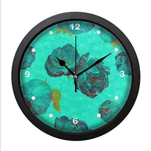 QgjayjqQ Wall Art Clock Oil Printed Abstract Blue Roses Tile ,Non-Ti