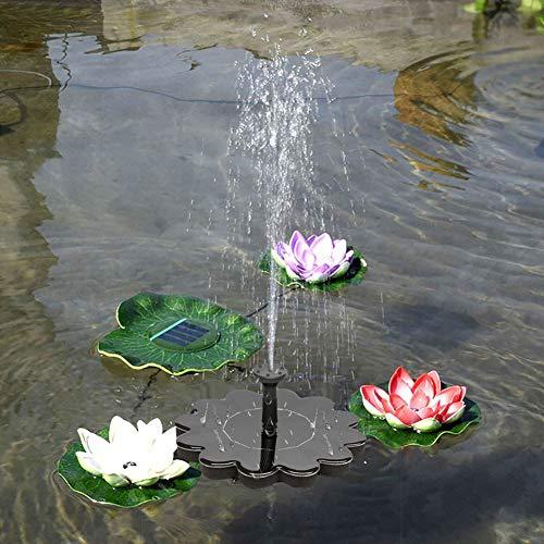 Denret3rgu Round Flower Floating Outdoor Garden Patio Solar Power Water Fountain Pump Decor