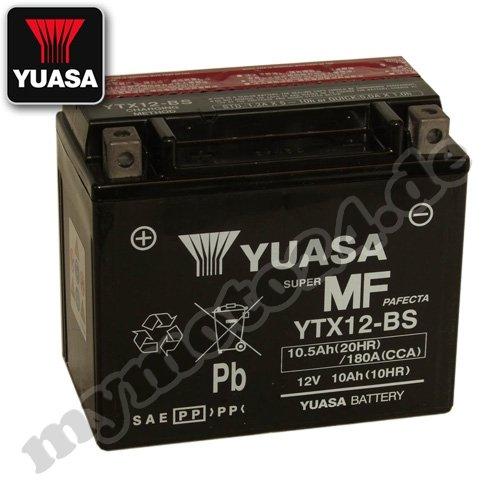 Batteria YUASA–YTX12BS, 12V/10Ah (dimensioni: 150x 87x 130)