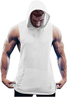 Men Fitness t Shirt Muscle Solid Sleeveless Hoodie Bodybuilding Tight-Drying Tops