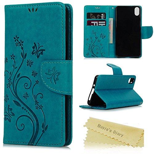 Mavis's Diary bq Aquaris X5 Funda Libro PU Premium Leather Cuero impresión, Carcasa Flip Case Cover Con TPU Goma Flexible,Cierre Magnético,Función de Soporte,Billetera con Tapa para bq x5 - Diseño de Mariposa y flor, azul
