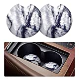 2 Pack Car Coasters for Drinks Absorbent - 2.75 Inch Cute Car Cup Holder Coasters for Women, Removable Cup Holder Coaster for Your Car, Car Interior Accessories for Women & Girls (White Marble)