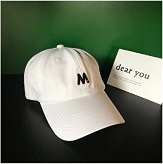Hats Spring and Summer Versatile M Letter Embroidery Baseball Cap Male Casual Fashion Cap Fashion (Color : White, Size : F/56-59cm)
