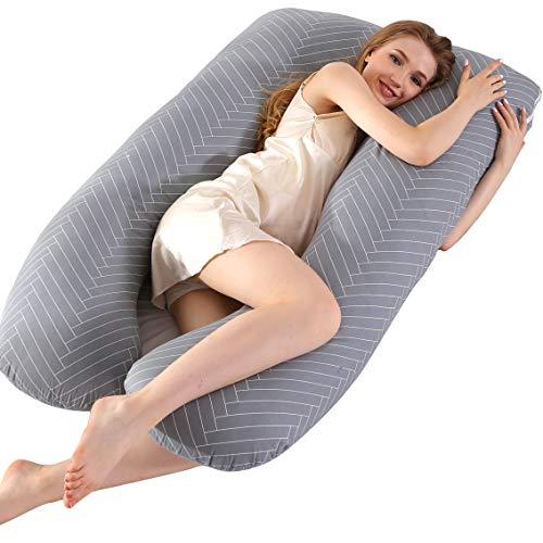 ARNTY Cuscino Gravidanza per Dormire,Grande Cuscino Premaman per Dormire,Prenatal e Allattamento Neonato on Fodera Rimovibile e Lavabile (Grigio-Strisce)