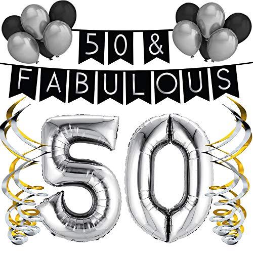 """Sterling James Co. """"50 & Fabulous"""" Geburstagsdeko Set – Schwarz & Silber Girlande, Ballons und Wirbel – Party Dekoration für Geburtstag – Geburtstags Dekorationsset für 50."""