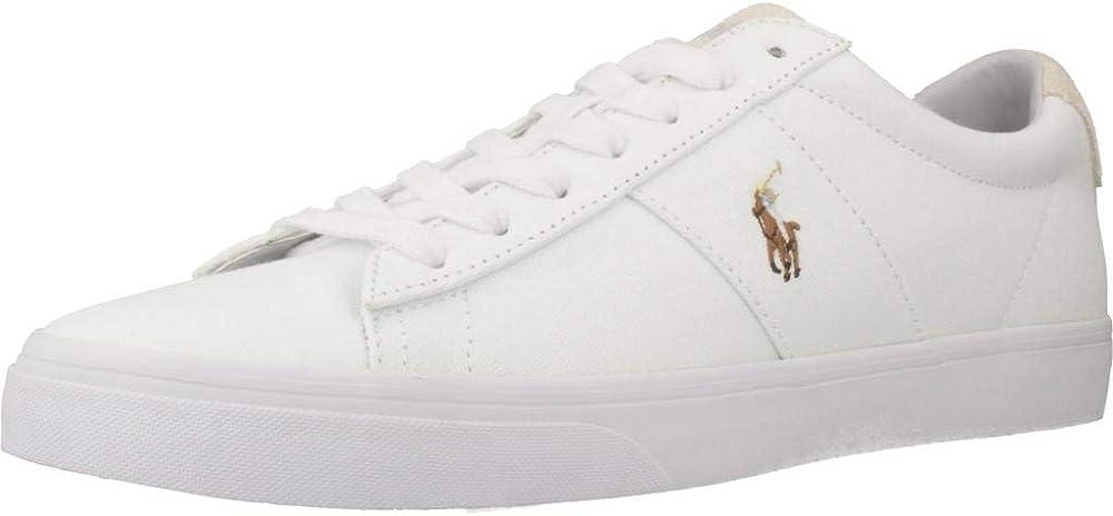 Ralph lauren sayer, scarpe per uomo,sneakers,scarpa realizzata in pelle e tessuto bianco 816749369
