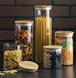Canister Set of 5, Glass Kitchen Canisters with Airtight Bamboo Lid, Glass Storage Jars for Kitchen, Bathroom...