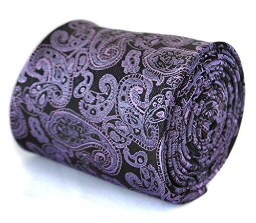 Frederick Thomas Hommes Motif Paisley Premium Cravate - Pourpre, Noir et Violet, One Size, N/A