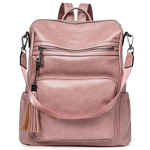 Backpack Purse for Women Fashion Two Toned Leather Designer Travel Large Ladies Shoulder Bags with Tassel pink