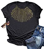 CHUNTIANRAN Womens Ruth Bader Ginsburg Shirts Notorious RBG Feminist T Shirt Casual Dissent Collar Graphic Short Sleeve Tee Tops (Medium, Grey)
