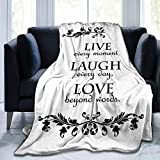 Marrtly Live Every Moment, Laugh Every Day, Love Beyond Words Throw Blanket Lightweight Flannel Fleece Blanket for Couch Bed Sofa 60'' X50