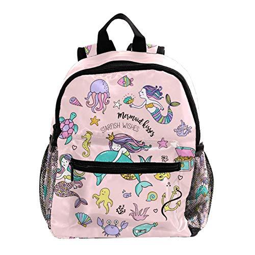 Indimization Zaino da scuola materna Tartaruga medusa sirena Zaino nuovo zainetto per bambini zaino leggero e casual per ragazzi e ragazze di 3-8 anni 25.4x10x30 CM