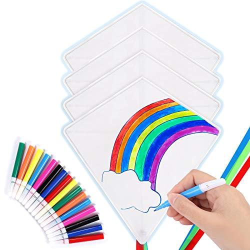 Toyssa Paquete de 4 Cometas para Niños Bricolaje con Cometas Blanco Bolígrafos de Acuarela Cordón y Cola de la Cometa para Niños y Adultos Actividades Al Aire Libre