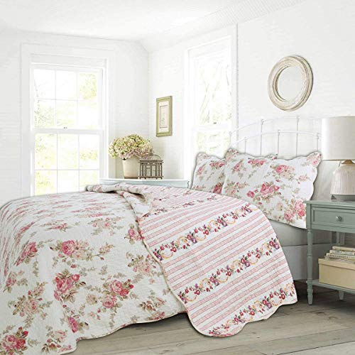 Cozy Line Home Fashions Romantic Pink Peony Flora Cotton Reversible Quilt Bedding Set, Coverlet, Bedspread (Pink Peony, King - 3 Piece)