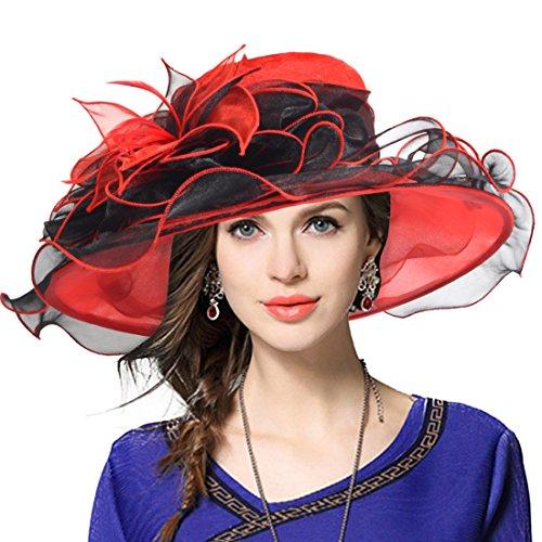 VECRY Mujeres Lglesia Derby Vestido Fascinator Gorro Nupcial Fiesta Boda Sombrero (42b-Rojo)