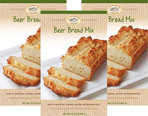 Beer Bread Mix by Little Big Farm Foods - Hearty, Mouthwatering Bread Mix That's So Easy to Make - No Bread Machine Needed - No Artificial Ingredients, Flavors, or Colors - 3 Pack