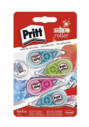 Pritt Micro roller, lot de 4 rubans correcteurs, roller de correction pour effacer et corriger, embout flexible & réécriture immédiate, idéal pour toutes les trousses