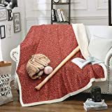 Loussiesd Manta de béisbol sherpa deportiva manta de forro polar 3D para sofá cama, decoración de la habitación, juegos de béisbol, manta ligera y borrosa para bebé 30 x 40 pulgadas