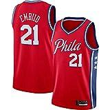 ZDFG Rojo - Hombres Leisure Baloncesto Philadelphia 76ers Camiseta NO.21 Camisetas Fan Shirt Vest Embiid Sportswear Tops Joel 2020/21 Season Sleeveless Style Fabric