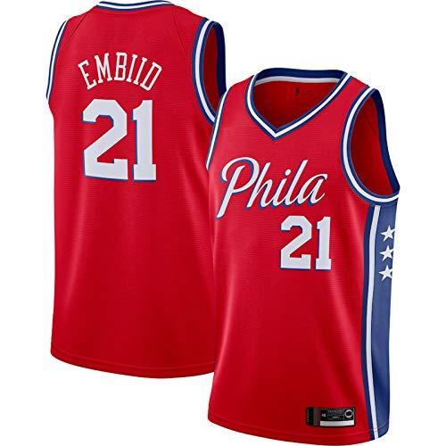 Baloncesto 21# Away Camiseta de baloncesto sin mangas de los deportes de baloncesto Jersey de los hombres de la ropa de cuello redondo chaleco Jersey - Rojo