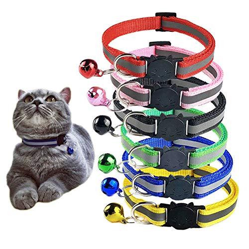D-buy Cat Collars with Bell, Breakaway Cat Collars, Reflective Cat Collars, Nylon Cat Collars with Bell, Collars for Cats (6 Colors)
