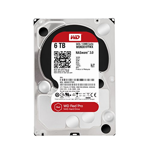 "WD WD6001FFWX Red Pro Hard Disk Desktop per NAS, Intellipower, SATA 6 GB/s, 128 MB Cache, 3.5"", 6 TB"