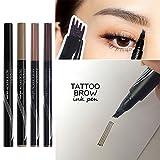 Turelifes Tattoo Eyebrow Pen con 4 puntas de larga duración Waterproof Brow Gel para maquillaje de ojos (RUBIA)