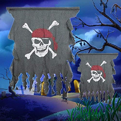 Pirate Skull with Red Bandana Flag Halloween Hanging Props