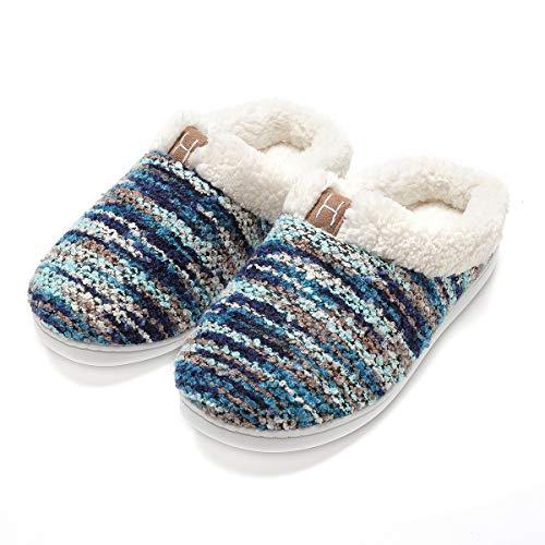 Zapatillas de casa Hombre, Forro algodón, Ultraligero cómodo y Antideslizante, Pantuflas de casa para Hombre, Azul, 42/43 EU