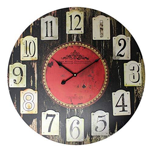 PRECIO en el palo Reloj de pared Royal | Modern | Negro | | Diseño | Relojes | grande para salón | Decoración | adornan | Reloj de cocina