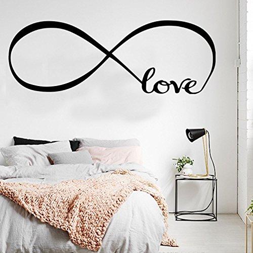 Vinilo adhesivo decorativo para pared, diseño de amor infinito, 55,88 x 61,88 pulgadas, para dormitorio, sala de estar, tienda, café, escuela, pareja o día de San Valentín