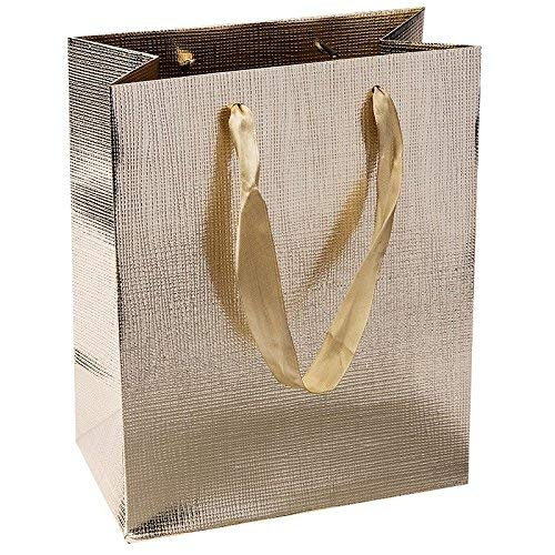 Edle Geschenktaschen, 23cm x 18cm x 10cm, aus Papier | geprägt & lackiert | Geschenkverpackung, Geschenktüte für Mitbringsel, Mitgebsel, Geburtstagsgeschenke, Weihnachtsgeschenke | 3 Stück (gold)