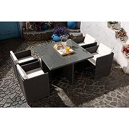 CONCEPT USINE – Salon De Jardin Miami 4 Personnes en Résine Tressée Gris Poly Rotin – 1 Table en Verre – 4 Fauteuils…