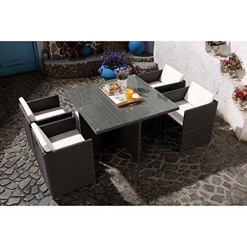 CONCEPT USINE - Salon De Jardin Miami 4 Personnes en Résine Tressée Gris Poly Rotin - 1 Table en Verre - 4 Fauteuils - Coussins Blanc - Encastrable, Résistant, Imperméable