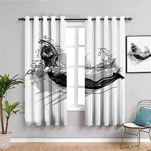 LucaSng Cortinas de Opacas - Resumen Negro líneas Chico - 264x210 cm - para Sala Cuarto Comedor Salon Cocina Habitación - 3D Impresión Digital con Ojales Aislamiento Térmico Cortinas