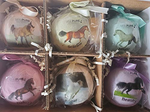 SPAPURE Wild Horses Bath Bombs: for Kids with 6 XL Bath Bombs with Surprise Horses Inside, USA Made, Handmade, Natural Bath Bombs, Birthday Gift idea for Kids, Spa Parties