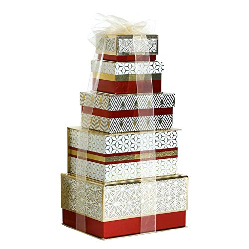 Tower of Treats for All Occasion Luxury Gift crammed with Delightful Treats Hamper Chocolate Nougat Jellies Panettone (Red)