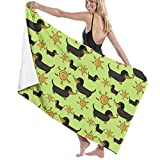 Sunshine Garden Doxies Chartruese Large Towel Blanket For Travel Pool Swimming Bath Camping