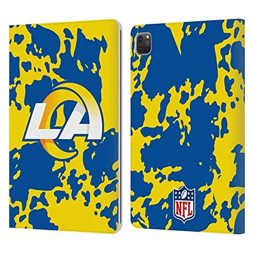 Head Case Designs Licenciado Oficialmente NFL Cow Animal Print Los Angeles RAMS Art Carcasa de Cuero Tipo Libro Compatible con Apple iPad Pro 11 (2020/2021)
